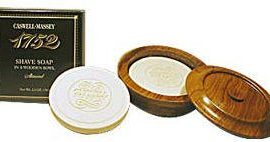 Caswell-Massey 17-22480 Almond Shave Soap in Wood Bowl