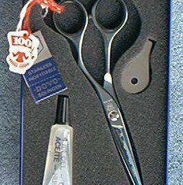 """Dovo 244-5585 KE Hair Shear Blue SS 5-1/2"""" + finger rest"""